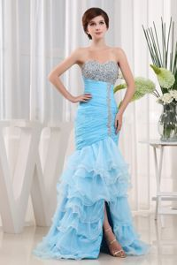 Aqua Blue Beaded Ruffled Sweetheart Pageant Girl Dresses in Highland Park