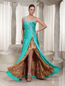 One Shoulder Appliqued Beaded Girl Pageant Dress with High Slit in Elgin