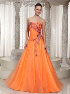 Ruched Orange Sweetheart Glitz Pageant Dresses with Appliques in Chicago
