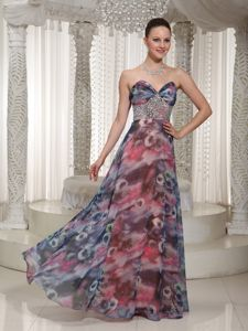 Beaded Floor-length Miss Universe Pageant Dress with Printing in Addison