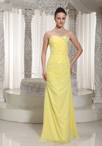 Chiffon Yellow Sweetheart Beaded Glitz Pageant Dresses with Ruches