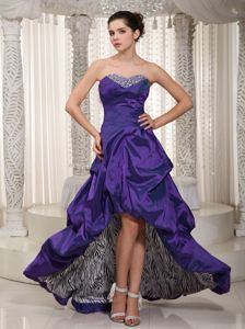 Eggplant Purple High-low Zebra Pageant Dresses with Beading in Quincy