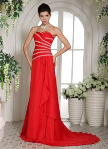 Red Sweetheart Luxurious Glitz Pageant Dresses with Brush Train in Elgin