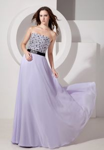 Strapless Chiffon Beaded Floor-length Prom Pageant Dresses in Lilac