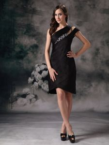 Black Satin Knee-length Pageant Dresses For Girls with Beading in Boise