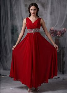 V-neck Chiffon Beaded Dresses For Pageants In Nj in Red in Stone Mountain