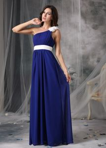Modest Royal Blue and White Miss Universe Pageant Dress with Flowers
