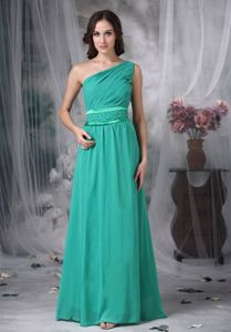 Custom Made Turquoise One Shoulder Pageant Dress with Beading in Rome