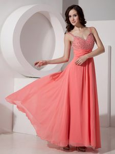 Watermelon Chiffon Beaded Ankle-length Glitz Pageant Dresses in Augusta