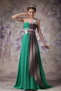 Cheap Green One Shoulder Chiffon Glitz Pageant Dresses with Appliques