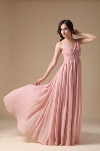 Elegant Peach Pink V-neck Pageant Dresses For Girls with Ruches in Athens
