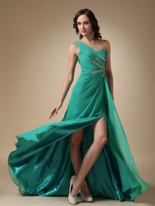 One Shoulder Brush Train Turquoise Girl Pageant Dress with High Slit