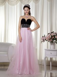 Pink and Black Floor-length Glitz Pageant Dresses with Beading in Decatur