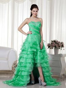 Sweetheart Brush Train Beaded Glitz Pageant Dresses in Apple Green