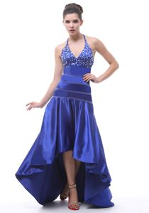 Halter Beaded High-low Pageant Dresses For Girls in Royal Blue in Orlando