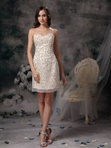 Custom Made Champagne Homecoming Dress with Beading in Lakewood