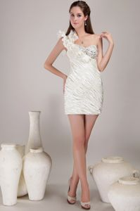 Elegant White One Shoulder Beauty Pageant Dresses with Beading in Greeley