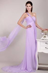 One Shoulder Beaded Glitz Pageant Dresses with Watteau Train in Lavender