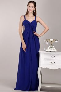 Straps Floor-length Chiffon Beaded Pageant Dresses For Girls in Blue