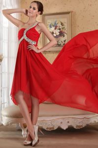 Red One Shoulder Beaded Glitz Pageant Dress with Chapel Train in Whittier