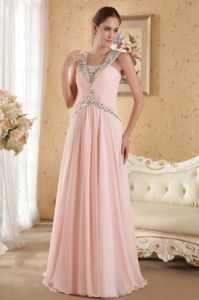Beaded Baby Pink Pageant Dresses For Girls with Court Train in Ventura