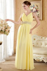 Yellow V-neck Ruched Chiffon Prom Pageant Dress with Beading in Tarzana