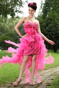 Hot Pink Sweetheart High-low Glitz Pageant Dresses with Beading in Salinas