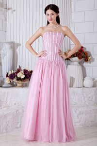 Baby Pink Strapless Tulle Pageant Dresses For Girls with Beading in Napa