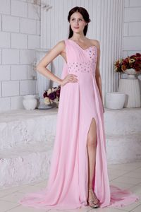 One Shoulder Beaded Pageant Dress with Watteau Train in Rose Pink