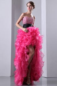 Hot Pink Sweetheart High-low Glitz Pageant Dresses with Beading in Irvine