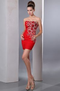 Sweetheart Short Chiffon Prom Pageant Dresses with Beading in Red