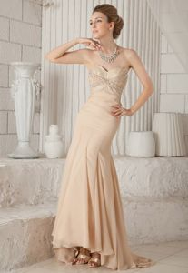 Champagne Mermaid Sweetheart Beaded Dresses for Pageants In Nj in Ibague
