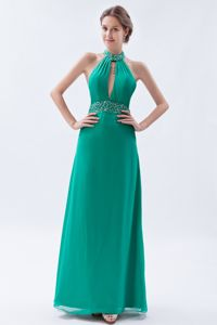 Turquoise High-neck Pageant Dresses with Beadings and Backless in Bolivar