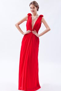 Empire V-neck Beaded Girl Pageant Dress in Chiffon in Red in Cartagena