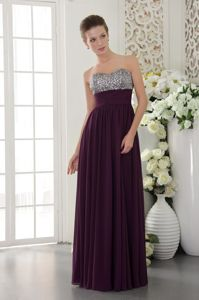 Dark Purple Empire Sweetheart Glitz Pageant Dresses with Beads in Anza