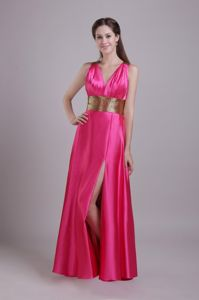 Hot Pink Empire V-neck Taffeta Sash Dresses for Pageants In Nj in anderson