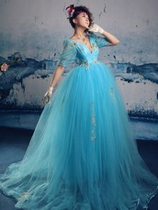 Aqua Blue V-neck Style Pageant Dresses with Appliques in American Canyon