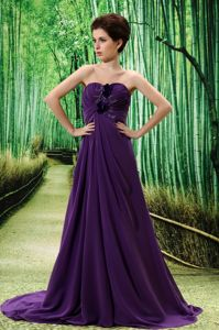 Dark Purple Pageant Dress with Hand Made Flower and Ruches in Aliso Viejo