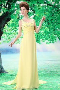 Yellow V-neck Watteau Chiffon Yellow Prom Pageant Dresses in Alhambra