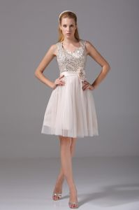 Round Split Neck Accent Cream Colored Pageant Dresses for Girls in Acton