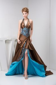 Halter Top Beaded Brown Glitz Pageant Dresses with Court Train in ]Acampo