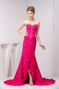 Beaded and Flounced Chiffon Beauty Pageant Dresses in Hot Pink in Florence