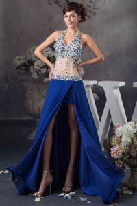 Blue Halter Top Style with Rhinestone and Sheer Pageant Dress in Flagstaff