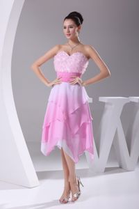 Asymmetrical Hemline Sweetheart Rose Pink Prom Pageant Dresses in Eloy