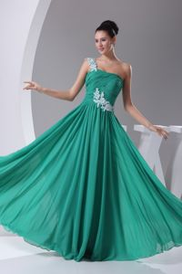 Floral One Shoulder Pleated and Appliqued Interview Pageant Suits in Dragoon