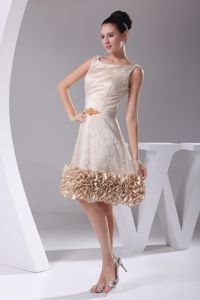 Scoop with Sash Lace Flowers and Ruffled Edge Pageant Girl Dresses in Douglas