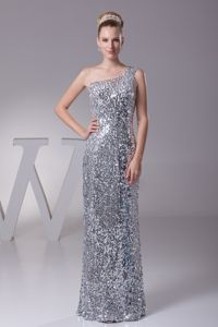 Silver Sheath Single Shoulder Girl Pageant Dress with Sequines in Crown King
