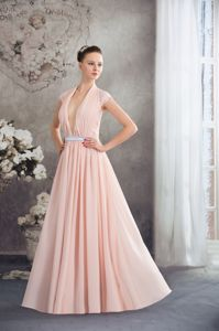 Baby Pink V-neck Natural Beauty Pageants Dress with Silver Sash in Catalina