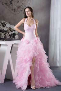 Ruffled Halter Pink High-low Column Pageant Dress Patterns in Arizona City