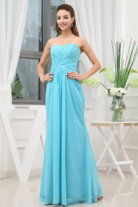 Ruched Long Empire Accent Glitz Pageant Dresses in Aqua Blue in Florence